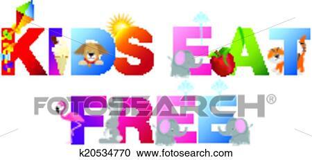 Clipart Kinder Essen Frei Wort In Childrens Alphabet