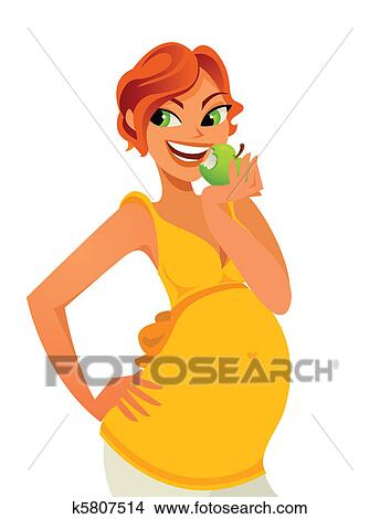 Pregnant Eating Apple Clipart