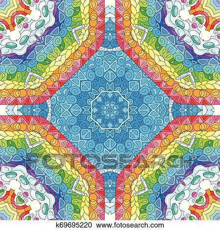 23eecf987cae Seamless, zentangle, pattern., decorativo, excepcional, cuadrado,  ornaments. Clipart