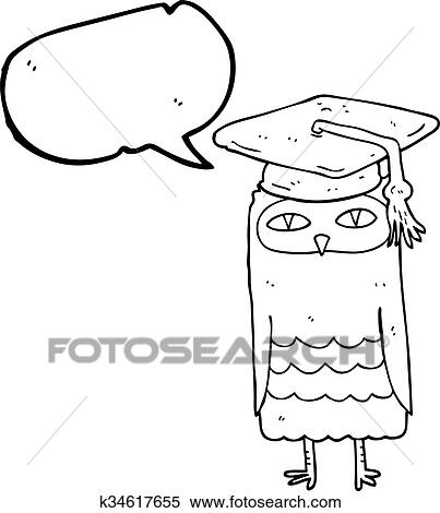 Clipart Of Speech Bubble Cartoon Wise Owl K34617655 Search Clip
