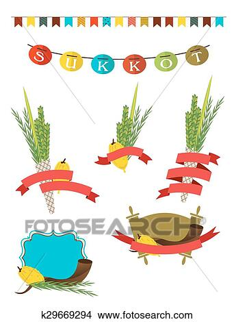 clipart of sukkot collection four symbols of jewish holiday sukkot rh fotosearch com Jewish Hanukkah Clip Art Jewish Holidays Clip Art to Color