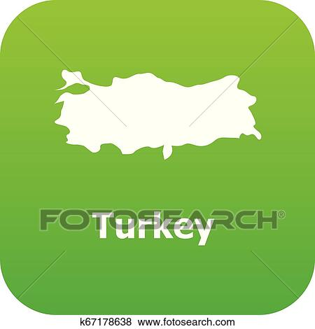 Turkey map icon, simple style Clip Art