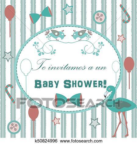 Baby Shower Invitation Card Stock Illustration K50824996