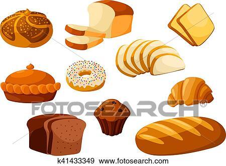 Clipart Boulangerie Pain Isolé Vecteur Icônes K41433349