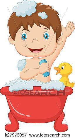 Cartoon child taking a bath Clip Art | k27973057 | Fotosearch