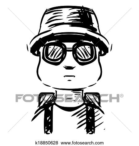 Clip Art Of Cartoon Vacation Outfit Man With Bag K18850628