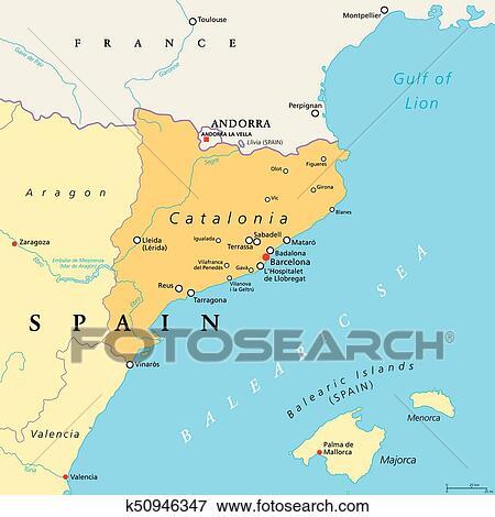 Carte Espagne Nord Est.Catalogne Autonome Communaute De Espagne Politique Carte