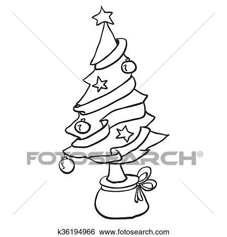 Clip Art Einfache Schwarz Weiß Weihnachtsbaum K36194966 Suche