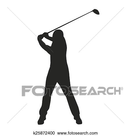 Clipart Of Golf Swing Vector Golfer Silhouette K25872400 Search
