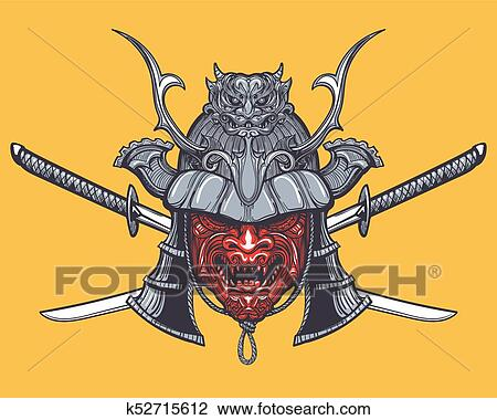 Clipart Japonaise Samourai Masque A Traverse Epees K52715612