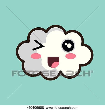 Kawaii, wolk, open mond, motieven Clipart | k40406588 ...