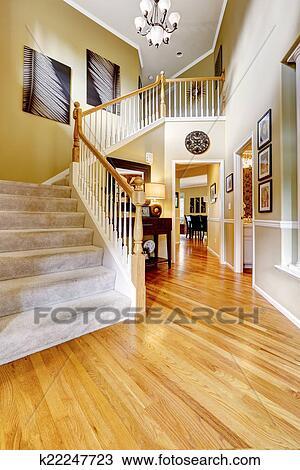 Banque de Photo - luxe, maison, interior., couloir, à, élevé ...