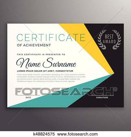 Clipart Of Modern Vector Certificate Template With Geometric Shapes