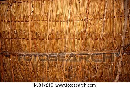 Stock Bilder Palmenblatter In Schiebedach Palapa Hutte Dach