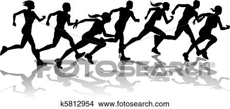clipart of runners racing k5812954 search clip art illustration rh fotosearch com running clipart running clip art free