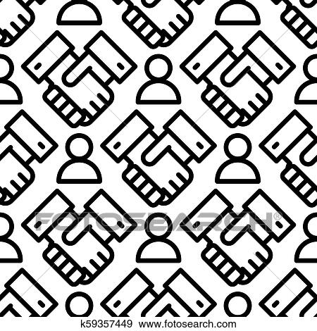 Clip Art Of Shaking Hands Business Handshake Seamless Pattern