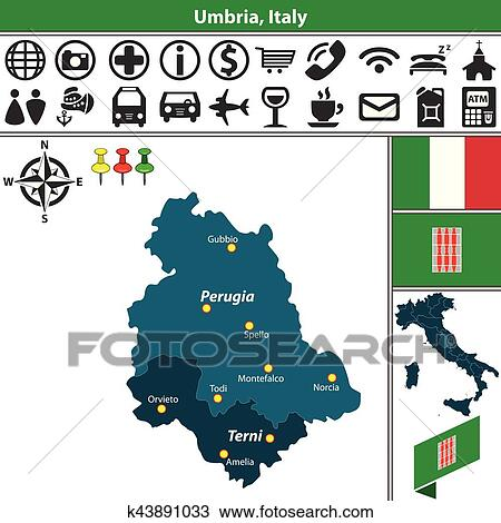 Umbria with regions, Italy Clipart