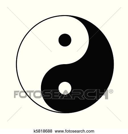 Clip Art Of Yin Yang Symbol K5818688 Search Clipart Illustration