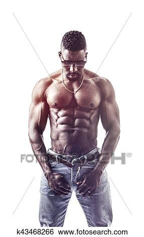 7352d41f81 African American bodybuilder man, muscular torso Stock Photograph ...