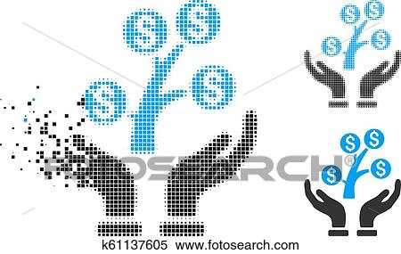 Dissolved Pixel Halftone Sprout Care Hands Icon Stock