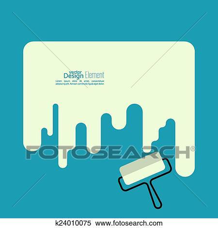 Clipart Farbrolle Mit A Streifen Von Farbe K24010075 Suche