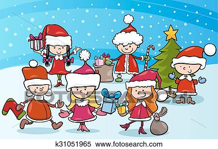 karikatur kinder auf weihnachten clipart k31051965. Black Bedroom Furniture Sets. Home Design Ideas