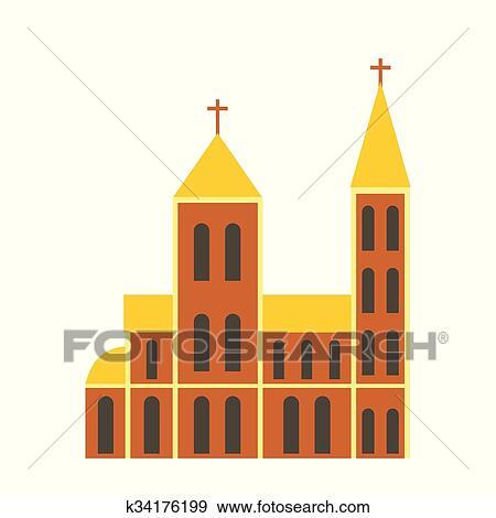 Clip Art Katholik Kirche Flache Symbol K34176199 Suche
