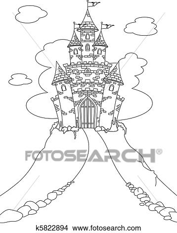 Clipart of Magic Castle coloring page k5822894 - Search Clip Art ...
