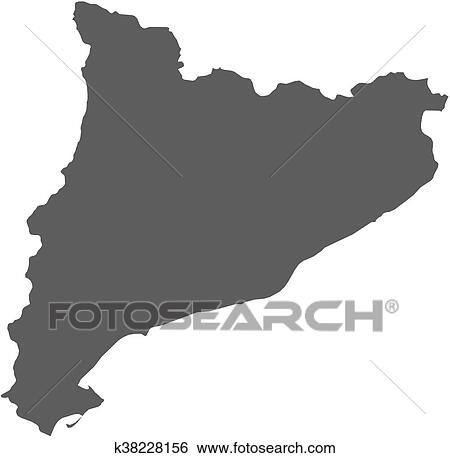 Map Of Spain Showing Catalonia.Map Catalonia Spain Clip Art K38228156