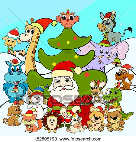 Drawing Of Santa Claus Christmas Tree And Merry Animals K52805193