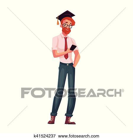 Clipart Etudiant Universite Dans Carree Lunettes Et Chapeau