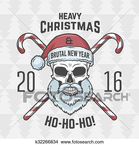 Heavy Metal Christmas.Bad Santa Claus Biker With Candies Print Design Vintage Heavy Metal Christmas Portrait Rock And Roll 2016 New Year T Shirt Illustration Clipart