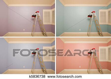 Conjunto, de, vacío, cuartos, pintado, en, variedad, de, colores Colección  de foto