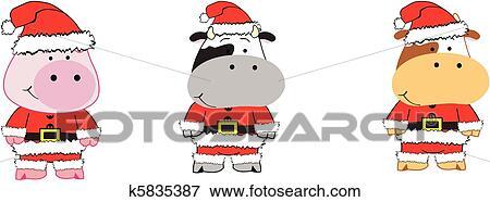 Clipart Dessin Anime Animaux Noel Set3 K5835387 Recherchez