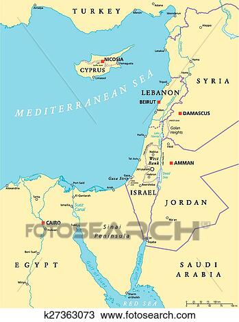 Jordan Political Map.Clipart Of Eastern Mediterranean Political Map K27363073 Search