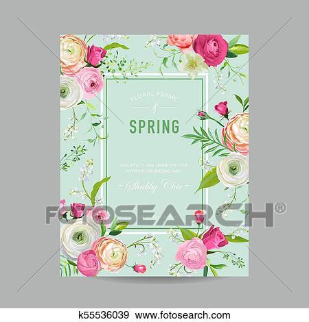 Floral Primavera Desenho Modelo Para Convite Casamento