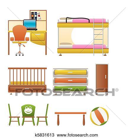 Clipart - guardería infantil, y, niños, habitación, objetos k5831613 ...