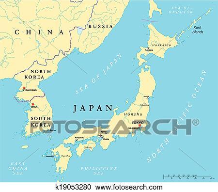 Japan, North Korea And South Korea Clipart | k19053280 | Fotosearch