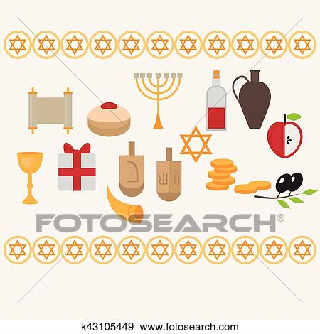 Clip art of jewish holiday hanukkah design elements with traditional traditional donuts holiday candlestick menora and scroll horn and wooden spinning top and coins happy hanukkah greeting card hebrew judaism symbols m4hsunfo