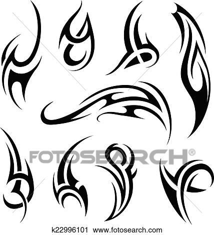 Maori Tattoo Set Clipart