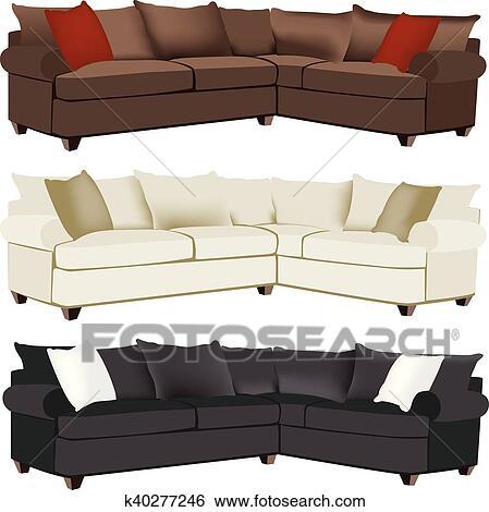 Modern Sectional Sofa Clip Art | k40277246 | Fotosearch