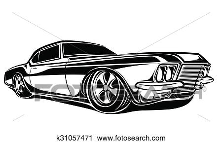clipart of muscle car k31057471 - search clip art, illustration