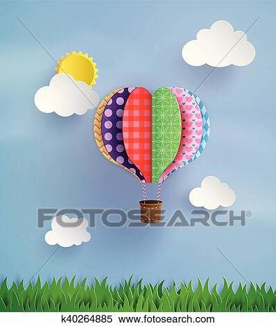Clipart Of Origami Made Hot Air Balloon And Cloud K40264885 Search