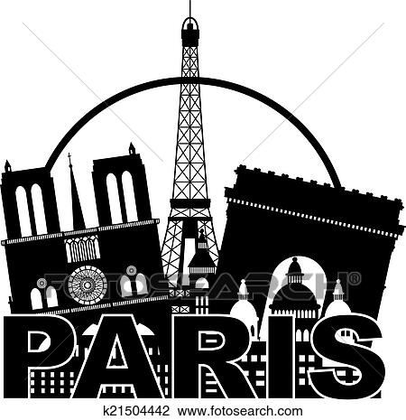 Clipart Of Paris City Skyline Silhouette Circle Black And White