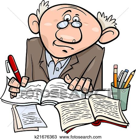 clipart of professor or writer cartoon illustration k21676363 rh fotosearch com writers clip art free writing clip art images