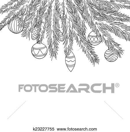 Clipart Schön Schwarz Weiß Weihnachten Kugeln Hängen A