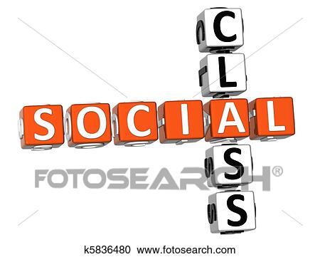3D Social Class Crossword On White Background