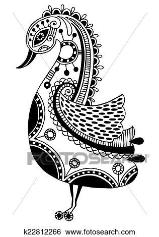 Clip Art Tinte Zeichnen Von Stammes Dekorativ Vogel Ethnisch