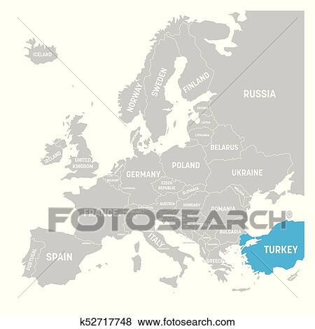 Turkey marked by blue in grey political map of Europe ... on tierra del fuego map, topological map, historical map, data visualization map, world map, geographic map, history map, present day map, east and southeast asia map, africa map, cartography map, geographical map, political map, us and north america map,