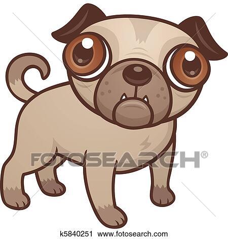 パグ 子犬 漫画 クリップアート切り張りイラスト絵画集